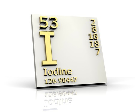 Iodine form Periodic Table of Elements Stock Photo
