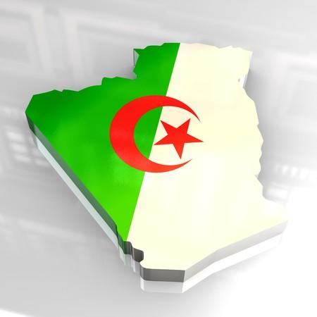 Algeria: 3d flag map of algeria