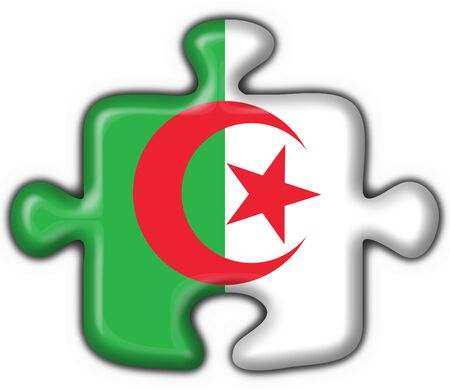 berber: Algeria button flag puzzle shape Stock Photo