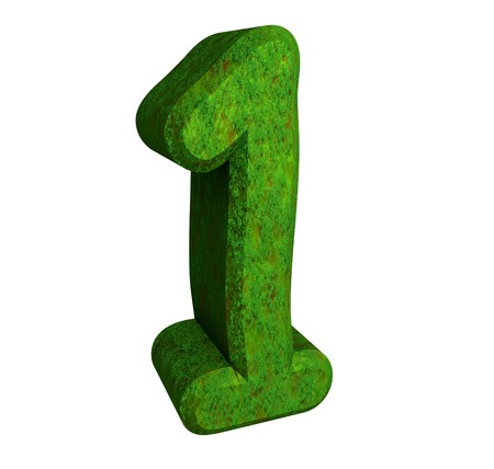1: 3d number 1 green Stock Photo