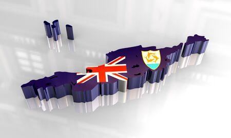 anguilla: 3d flag map of anguilla