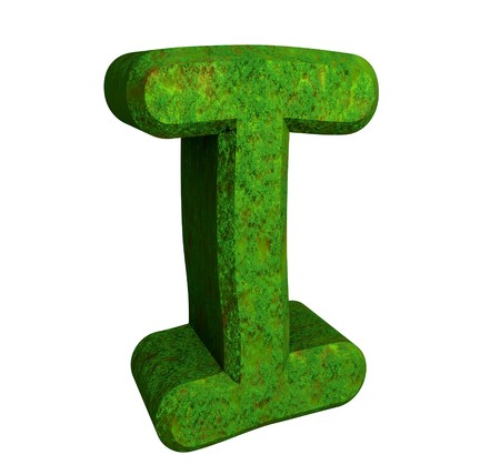 3d letter I in green grass