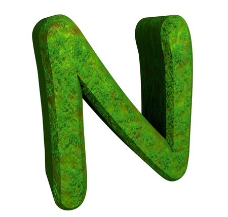 cyrillic: 3d letter N in green grass
