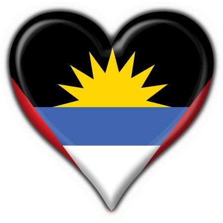 barbuda: Antigua and Barbuda button flag heart shape Stock Photo