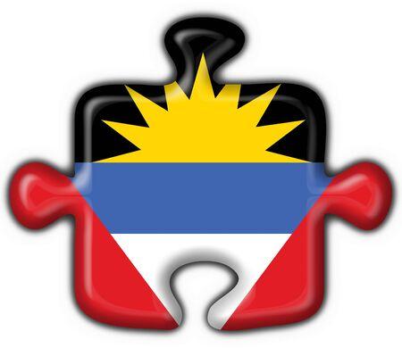 barbuda: Antigua and Barbuda button flag puzzle shape Stock Photo