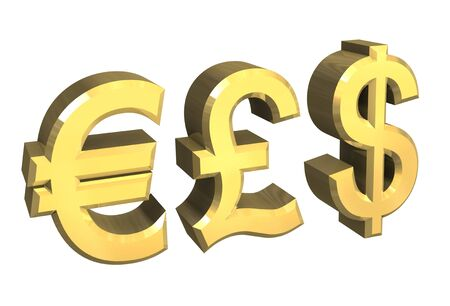 euro, pound, dollar symbol in gold - 3D made photo