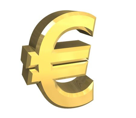 isolated euro symbol in gold - 3D made photo