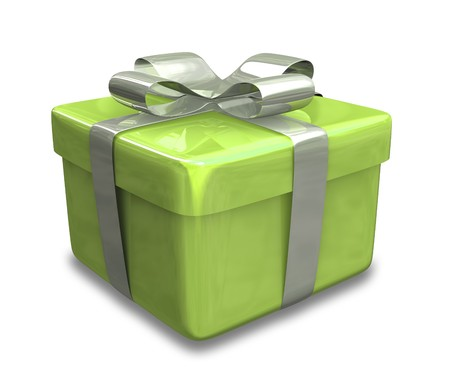 wrapped white and green gift (3D)