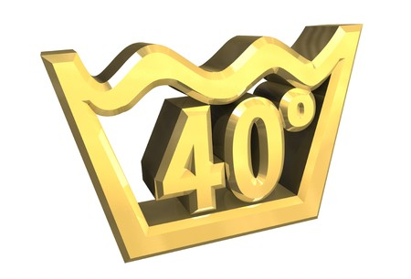 crumple: washing 40 degree symbol in gold isolated - 3D Stock Photo