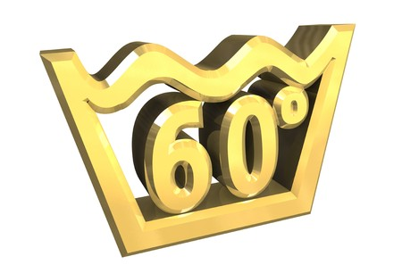 Washing 60 Degree Symbol In Gold Isolated 3d Stock Photo Picture