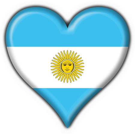 Argentina button flag heart shape Stock Photo - 4525145