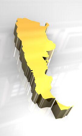 southamerica: 3d golden map of Argentina
