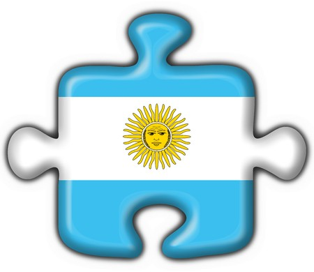 southamerica: Argentina button flag puzzle shape Stock Photo