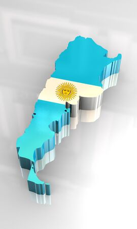southamerica: 3d made - flag map of Argentina