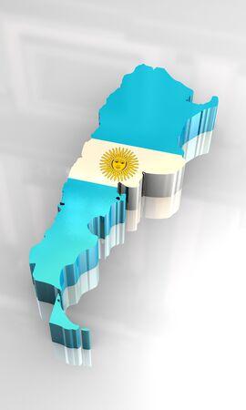 southamerica: 3d made - flag map of Argentina