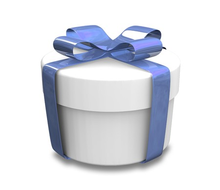 white gift with blue wrap - 3d made Stock Photo