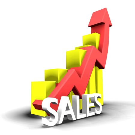 attainment: Statistics graphic with sales word - 3d made