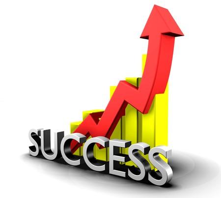 Statistik Grafik mit Erfolg Wort Standard-Bild - 4604907