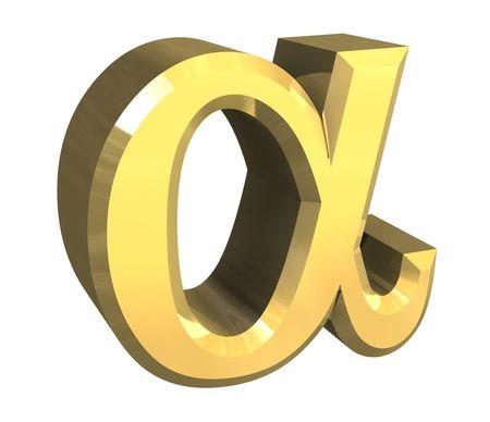 Simbolo alfa in oro (3d)