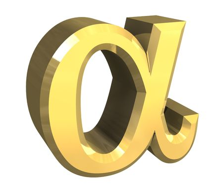 gamma: Alpha symbol in gold (3d) Stock Photo