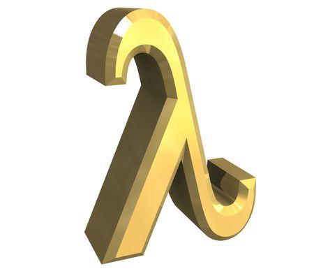gamma:  lambda symbol in gold (3d)