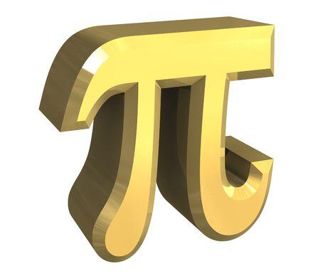 pi symbol in gold (3d) Stock Photo