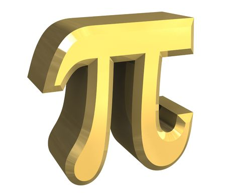 alpha: pi symbol in gold (3d) Stock Photo