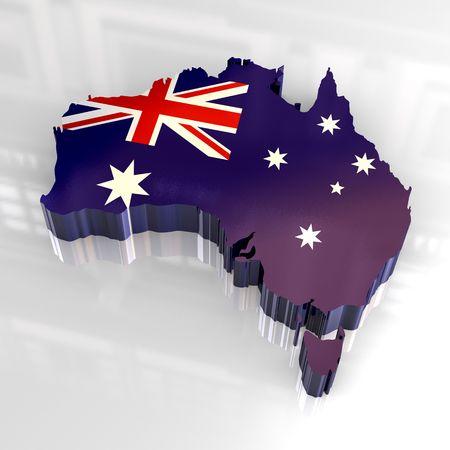 Flagge Karte von Australien - 3d gemacht  Standard-Bild - 4618865