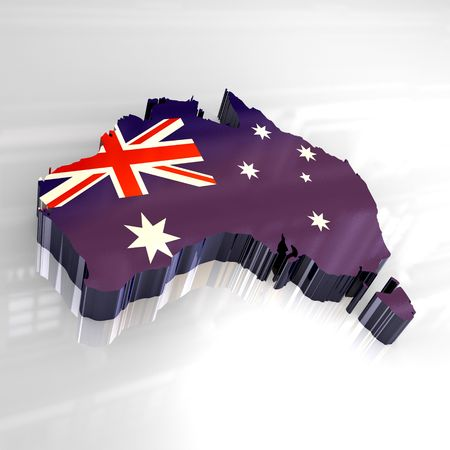 colonization: flag map of australia - 3d made