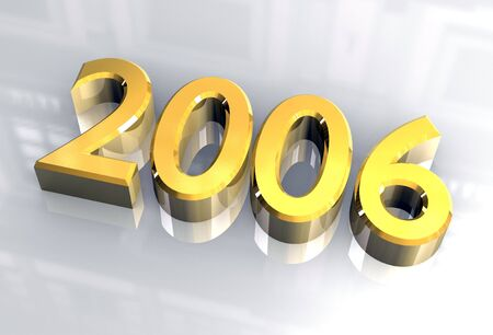 year 2006 in gold - 3d made photo