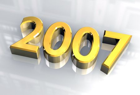 year 2007 in gold - 3d made photo