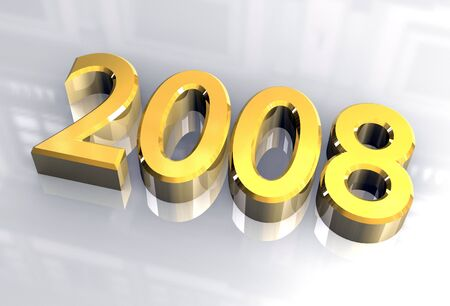 year 2008 in gold - 3d made photo