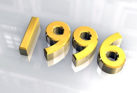midnight time: year 1996 in gold 3d