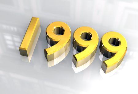 Jahr 1999 in Gold 3d Standard-Bild - 4618937