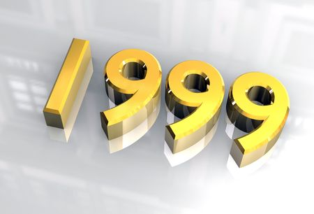 midnight time: year 1999 in gold 3d