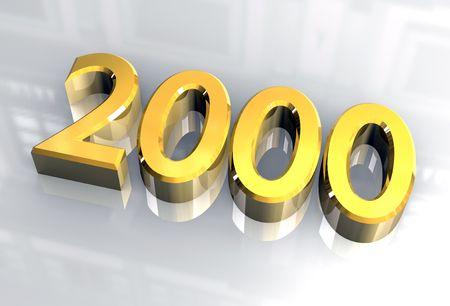 Jahr 2000 in Gold 3d Standard-Bild - 4618936