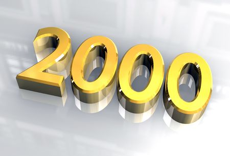 year 2000 in gold 3d Stock Photo