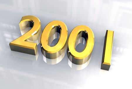 midnight time: year 2001 in gold 3d