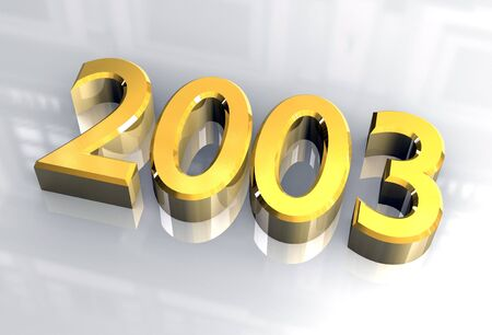 next year: year 2003 in gold 3d Stock Photo