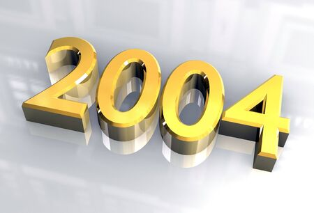 year 2004 in gold 3d photo