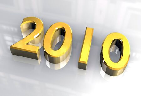 next year: year 2010 in gold 3d