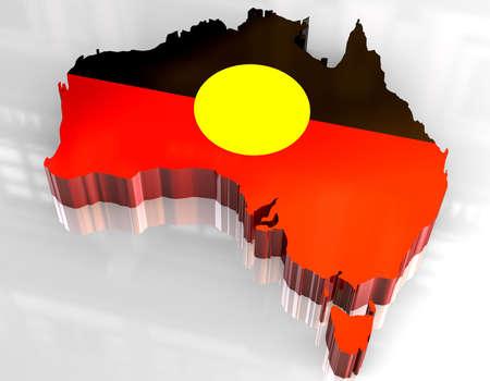 aboriginal: Mapa 3D bandera de los abor�genes de Australia