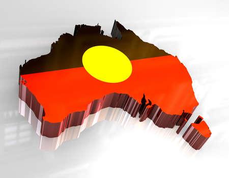 3d flag map of Australian Aboriginal photo