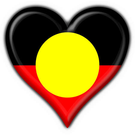 Australian Aboriginal button flag heart shape photo