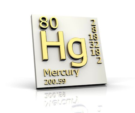 Mercury form Periodic Table of Elements Stock Photo