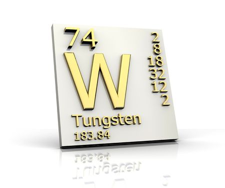 tungsten: Tungsten form Periodic Table of Elements Stock Photo