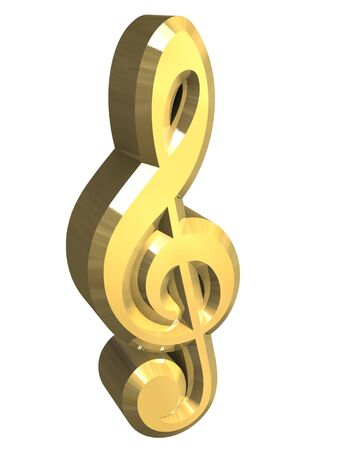 riff: music key symbol in gold - 3D
