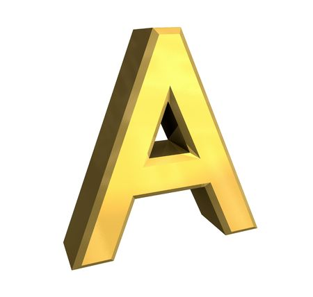 cyrillic: gold letter A - 3d made