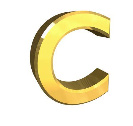gold letter C - 3d made