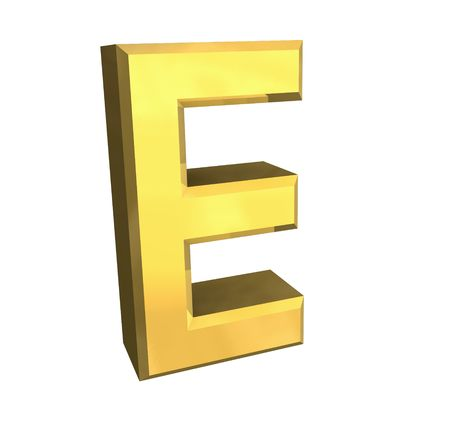cyrillic: gold letter E - 3d made